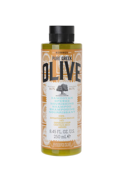 PURE GREEK OLIVE NOURISH SHAMPOO kuiville hiuksille 250mL